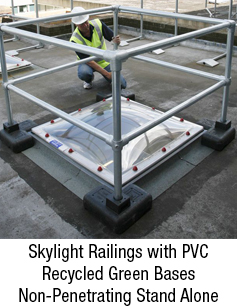 Skylight Railings with PVC Recycled Green Bases Non Penetrating Stand Alone Systemnew