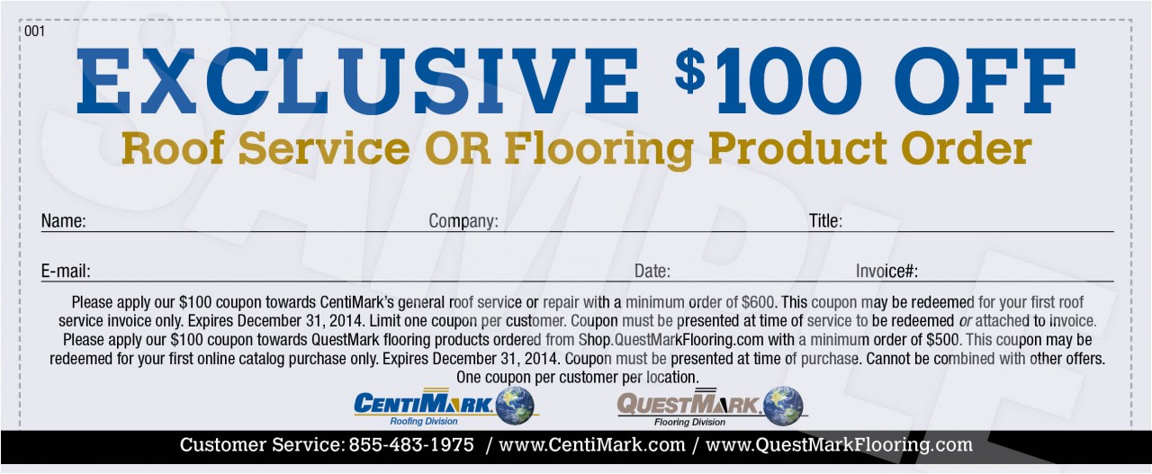 $100 Off Roof Service or Flooring Product Order